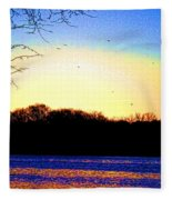 Psychedelic Sunrise On The Delaware River Fleece Blanket