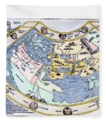 Ptolemaic World Map, 1493 Fleece Blanket