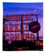 Public Market Center - Seattle Fleece Blanket