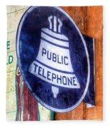 Public Telephone Sign Fleece Blanket
