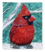 Pudgy Cardinal Fleece Blanket