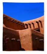 Pueblo Revival Style Architecture In Santa Fe Fleece Blanket