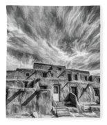 Pueblo Storm Clouds Fleece Blanket