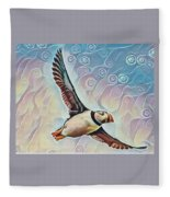 Puffin During Sunrise Fleece Blanket