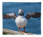 Puffin With Fish For Tea Fleece Blanket