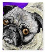 Olivia The Pug Fleece Blanket