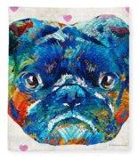 Pug Love Dog Art By Sharon Cummings Fleece Blanket