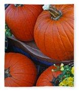 Pumpkin And Flowers Fleece Blanket