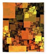 Pumpkin Autumn Cubes Fleece Blanket