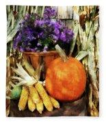 Pumpkin Corn And Asters Fleece Blanket