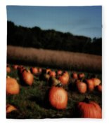 Pumpkin Field Shadows Fleece Blanket