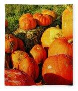 Pumpkin Meeting Fleece Blanket