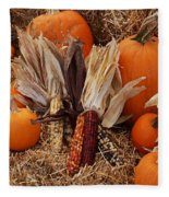 Pumpkins And Corn Fleece Blanket
