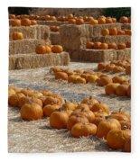 Pumpkins On Bales Fleece Blanket