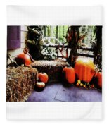 Pumpkins On Porch Fleece Blanket
