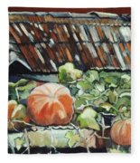 Pumpkins On Roof Fleece Blanket
