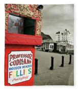 Punch And Judy Theatre On Llandudno Promenade Fleece Blanket