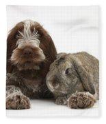 Puppy And Rabbt Fleece Blanket
