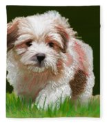 Puppy In High Grass Fleece Blanket