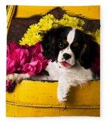 Puppy In Yellow Bucket  Fleece Blanket