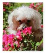 Puppy With Roses Fleece Blanket