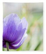 Purple Anemore Flower Fleece Blanket