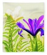 Purple And Blue Iris Fleece Blanket