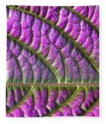 Purple And Green Leaf Fleece Blanket