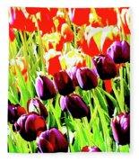 Purple And Peach Tulips 2 Fleece Blanket