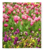 Purple And Pink Tulips In Canberra In Spring Fleece Blanket