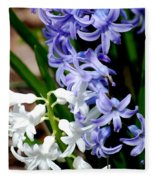 Purple And White Hyacinth Fleece Blanket