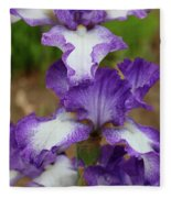 Purple And White Iris Layers Fleece Blanket