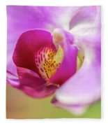 Purple And White Orchid 2 Fleece Blanket