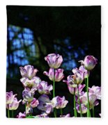 Purple And White Tulips - Photopainting Fleece Blanket