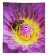 Purple And Yellow Lotus With A Bee Textured Fleece Blanket