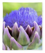 Purple Artichoke Flower  Fleece Blanket