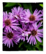 Purple Aster Blooms Fleece Blanket