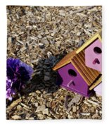 Purple Birdhouses 2 Fleece Blanket