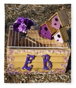 Purple Birdhouses 3 Fleece Blanket