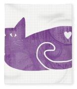 Purple Cat- Art By Linda Woods Fleece Blanket