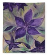 Purple Clematis Abstract Fleece Blanket