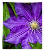 Purple Clematis Fleece Blanket