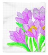 Purple Crocuses, Painting Fleece Blanket