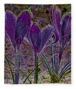 Purple Crocuses  Fleece Blanket