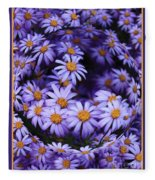 Purple Daisy Abstract Fleece Blanket