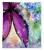 Purple Flower Watercolor Doodle Fleece Blanket