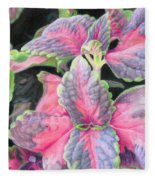 Purple Flowering Plant Fleece Blanket