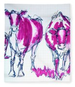 Purple Friesian Holstein Cows Drawing Fleece Blanket