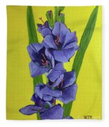 Purple Gladiolas Fleece Blanket