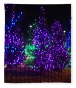 Purple Holiday Lights Fleece Blanket